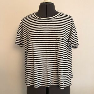 Open back striped tee size L